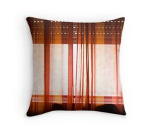 Red Curtain, Moody Morning Throw Pillow