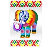 Elephant Rainbow Colors Patchwork Poster