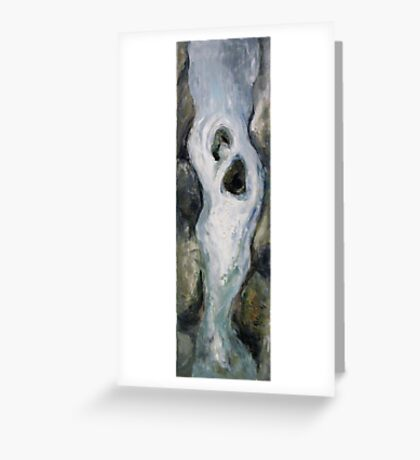 Narrow waterfall with two stones Greeting Card