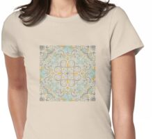 Gypsy Floral in Soft Neutrals, Grey & Yellow on Sage Womens Fitted T-Shirt