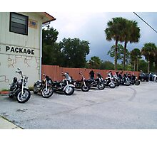 bikes at no name saloon in color Photographic Print