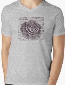 Camellia Woodcut Mens V-Neck T-Shirt