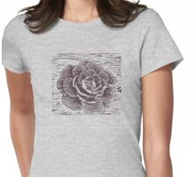 Camellia Woodcut Womens Fitted T-Shirt