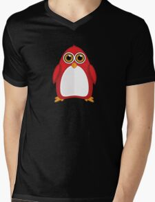 Red Penguin 2 Mens V-Neck T-Shirt