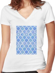 Cornflower Blue Moroccan Watercolor Pattern Women's Fitted V-Neck T-Shirt