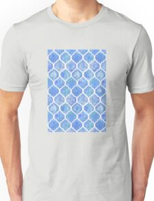 Cornflower Blue Moroccan Watercolor Pattern Unisex T-Shirt