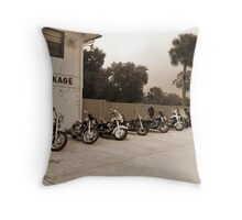 Bikes at no name saloon Throw Pillow