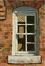 Old Broken Windows - building painting by LindaAppleArt