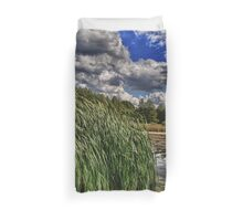 Reeds on a Campground Lake Duvet Cover