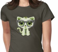 Kitten Nerd - Green Womens Fitted T-Shirt