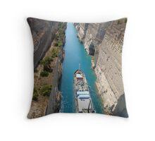 Corinth canal cutting  Throw Pillow