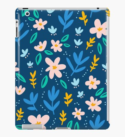 Colorful flowers on deep blue background  iPad Case/Skin