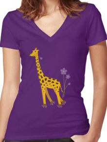 Purple Cartoon Funny Giraffe Roller Skating Women's Fitted V-Neck T-Shirt