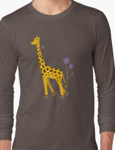 Purple Cartoon Funny Giraffe Roller Skating Long Sleeve T-Shirt