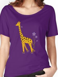 Purple Cartoon Funny Giraffe Roller Skating Women's Relaxed Fit T-Shirt