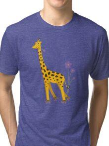 Purple Cartoon Funny Giraffe Roller Skating Tri-blend T-Shirt