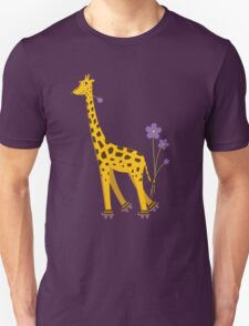 Purple Cartoon Funny Giraffe Roller Skating T-Shirt