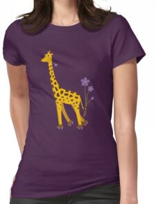 Purple Cartoon Funny Giraffe Roller Skating Womens Fitted T-Shirt