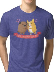 Paw-sitively Wuff-able Valentine's Day Card Tri-blend T-Shirt