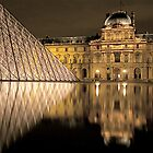 The Louvre and the Pyramid at night - Reflection, Paris by Florian Gerus