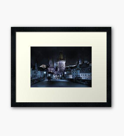 Tryst on Charles Bridge Framed Print