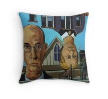 The Eyes Have it - city urban  people painting Throw Pillow