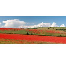 Red hills, rising clouds Photographic Print
