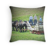 Eight Horse Hitch to Wagon/Sled Throw Pillow