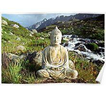Buddha by a Mountain Stream - Switzerland Poster