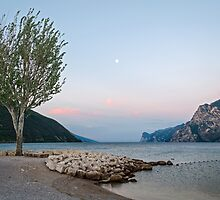 Lake Garda (Italy) and moon, early morning by MarcoSaracco
