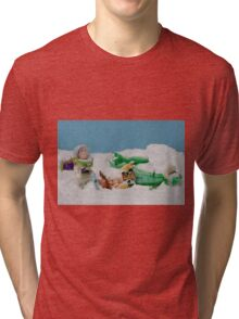 I thought they smelled bad on the outside! Tri-blend T-Shirt