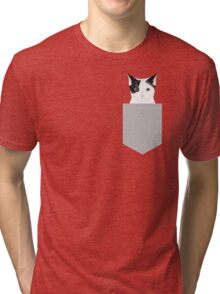 Manny - Black and white cute cat gift cat person cat lady funny cat meme pet portraits customizable  Tri-blend T-Shirt
