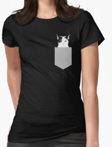 Manny - Black and white cute cat gift cat person cat lady funny cat meme pet portraits customizable  Womens Fitted T-Shirt