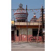 Street scene with bicycle, Udupi, India Photographic Print