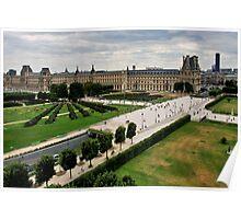 Paris and Le Louvre Museum Poster