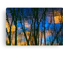 Blue & Yellow Abstract Reflections Canvas Print