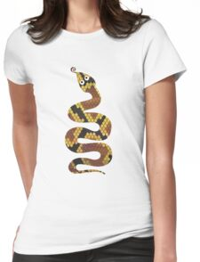 Snake Brown and Gold Print Womens Fitted T-Shirt