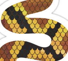 Snake Brown and Gold Print Sticker