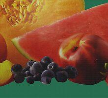 Fresh Fruit On Linen by Linda Miller Gesualdo