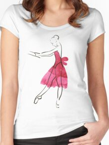 Vector hand drawing ballerina figure, watercolor illustration Women's Fitted Scoop T-Shirt