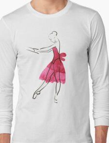 Vector hand drawing ballerina figure, watercolor illustration Long Sleeve T-Shirt