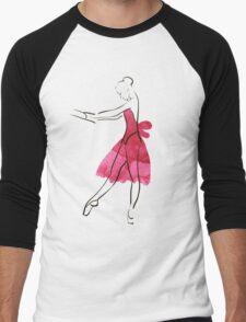 Vector hand drawing ballerina figure, watercolor illustration Men's Baseball ¾ T-Shirt