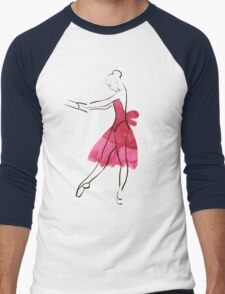 Vector hand drawing ballerina figure, watercolor illustration Men's Baseball ¾ T-Shirt
