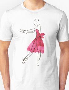 Vector hand drawing ballerina figure, watercolor illustration Unisex T-Shirt