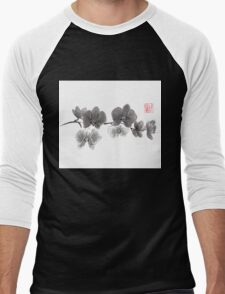 Curious orchid sumi-e painting  Men's Baseball ¾ T-Shirt