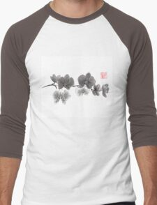 Curious orchid sumi-e painting  Men's Baseball ¾ T-Shirt