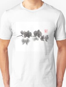 Curious orchid sumi-e painting  T-Shirt