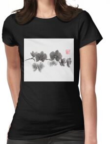 Curious orchid sumi-e painting  Womens Fitted T-Shirt