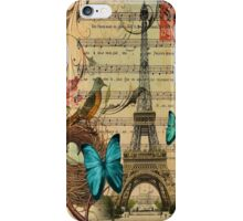 vintage bird nest paris eiffel tower botanical art iPhone Case/Skin