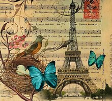 vintage paris eiffel tower music notes botanical art by lfang77